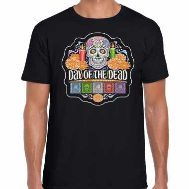 Day of the dead / dag doden halloween verkleed t shirt / kostuum zwart heren