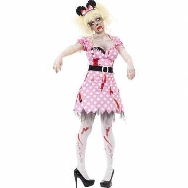 Halloween roze zombie minnie kostuum dames