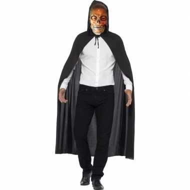 Halloween verkleed kostuum transparante doodskop masker