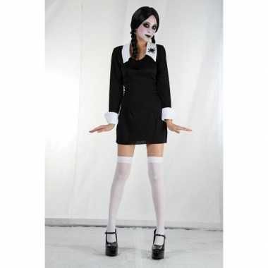 Zwart Halloween kostuum jurkje Wednesday meisjes