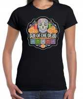 Day of the dead dag doden halloween verkleed t-shirt kostuum zwart dames