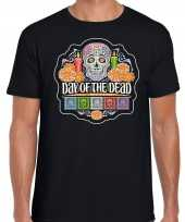 Day of the dead dag doden halloween verkleed t-shirt kostuum zwart heren